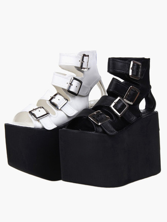 1b18d0178706a Lolita Sandals High Platform Shoes PU Leather with Buckles