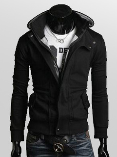 Men Jacket Cool Black Spring Jacket Hooded Long Sleeve Short Jacket