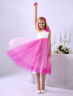 One-Shoulder A-line Flower Tulle Beautiful Wedding Flower Girl Dress  Milanoo