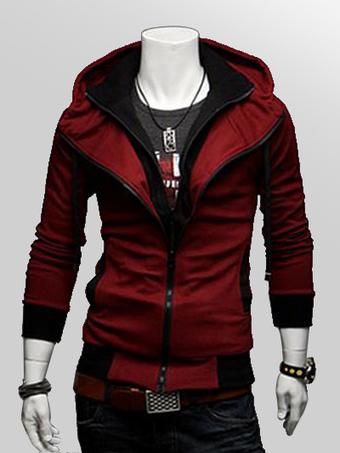 Burgundy Hoodie Men Jacket Hooded Long Sleeve Full Zip Sweatshirt