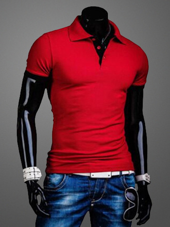 Red Cotton Men's Polo Shirt