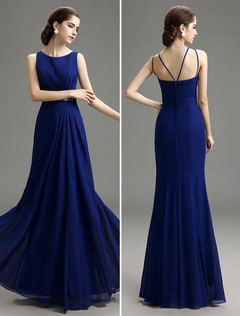 Blue Prom Dress 2019 Long Chiffon Mermaid Evening Dress Royal Blue Bateau  Neck Pleated Party Dress e22c41027c82