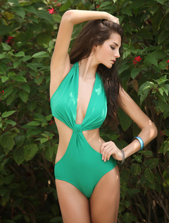 Fashion Unique Green Knot Monokini Swimsuit For Women