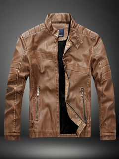 64648b56ab2c Brown Leather Jacket Men Jacket Stand Collar Long Sleeve Zip Up Motorcycle  Jacket