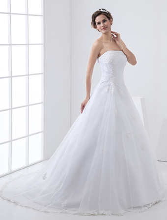 White Wedding Dresses Strapless Bridal Gown Lace Beading Side Draped Dress With Train