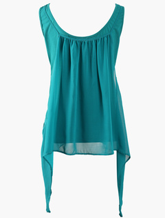 Sexy Blue Scoop Neck Solid Color Chiffon Camis For Women