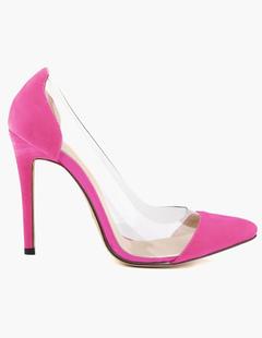 c6c7249982e Women High Heels Suede Pointed Toe Slip On Pumps Rose Stiletto Heel Dress  Shoes