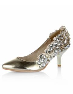 ... Da Sposa Tacchi Alti In Raso. -30%. D oro in pelle di mucca Crystal  punte Toe scarpe nuziale 9442ce55d61
