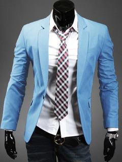 Casual Men Jacket Long Sleeve Spring Jacket Light Blue Blazer For Men