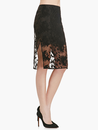 Pretty Black Split Front Lace Skirt For Woman