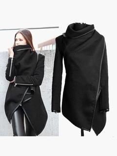 Cappotto nero per donna con maniche lunghe e zip in cotone misto cb1cf2befc5