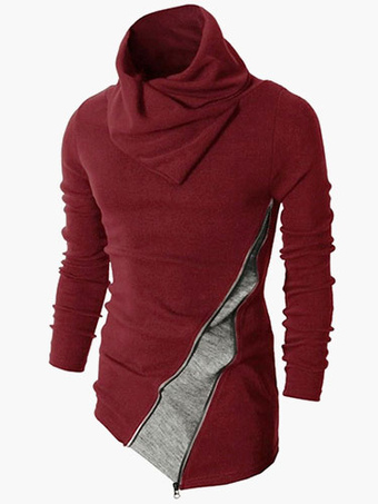 Turndown Collar Long Sleeves Multicolor Cotton Blend Casual Pullover Knitwear For Men