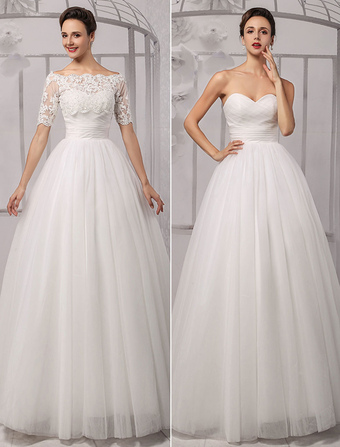 Tull Off-The-Shoulder Ball Gown Wedding With A Lace Wrap Milanoo