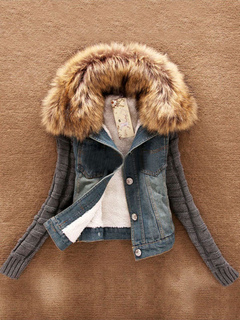 Denim Jacket Women Shearling Coat Faux Fur Collar Sweater Sleeve Coat For Women