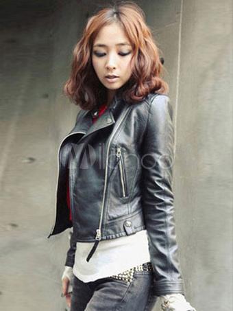 Black PU Leather Stand Collar Layered Jacket