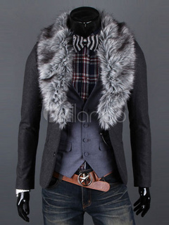 Grey Men Coat Winter Coat Faux Fur Turndown Collar Long Sleeve Short Coat