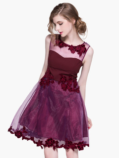 Fuchsia Embroidered Sleeveless Layered Homecoming Dress Wedding Guest Dress