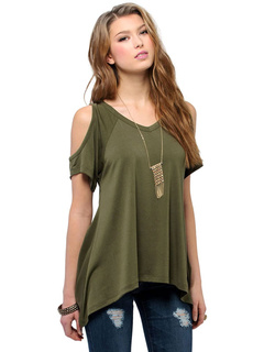 Cold Shoulder Top V Neck Casual T-shirt