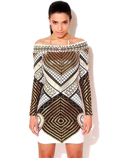 Bare Shoulder Body-conscious Mini Dress With Long Sleeves And Geo Print