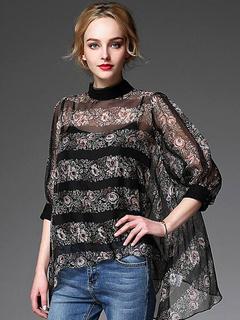 Women's Tops High Collor Half-sleeve Semi-sheer High Low Blouse