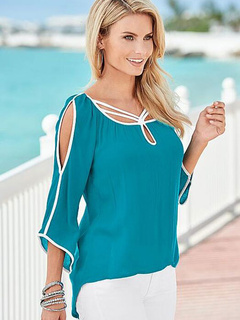 Women's Blouse Cold Shoulder 3 of 4-Length Sleeve Top