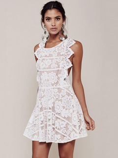 Sleeveless Cross Back Ruffles Summer Dress