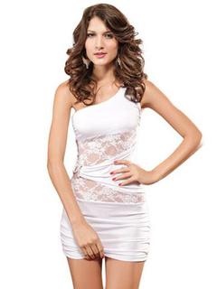 Mini Dress One Shoulder Sleeveless Lace Semi-sheer Bodycon Dress