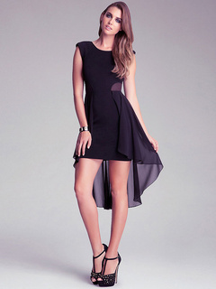 Summer Dress Sleeveless Tiered High Low Design Bodycon Dress