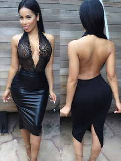 Plunging Backless Sexy Midi Dress