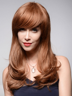 Human Hair Wig End Curl Light Tan Long Spiral With Bang Wig
