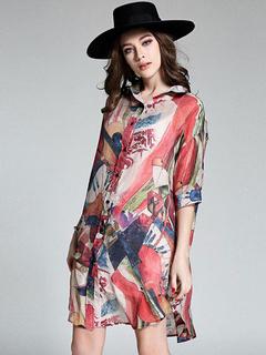 Half Sleeves Chiffon Long Shirt For Women Shift Dress