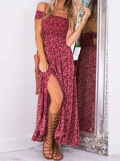 Off The Shoulder Maxi Dress In Bohemia Style
