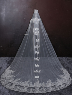Wedding Cathedral Veils Two-Tiered Bow Decoration Lace Applique Waterfall Wedding Veil With Comb(280*300cm)