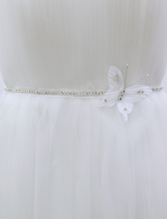 Glitter Wedding Sash White Rhinestone Bow Bridal Sash For Decor