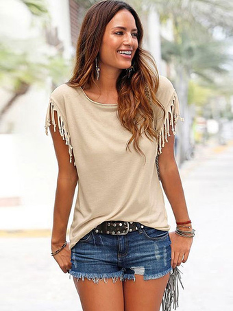 Women Summer T Shirt 2018 Round Neck Fringe Apricot Casual Top