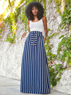 Color Block 2-piece Sets Sleeveless Tops And Stripes Skirt