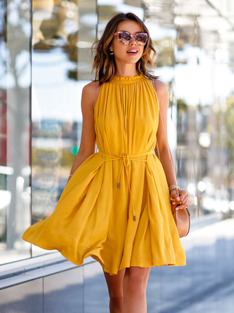 Yellow Summer Dress Solid Color Sleeveless Ruffles Acetate Women's Dress