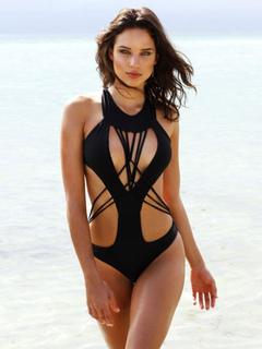 Black Swim Bodysuit Strappy Criss-Cross Backless Women's Swimwear