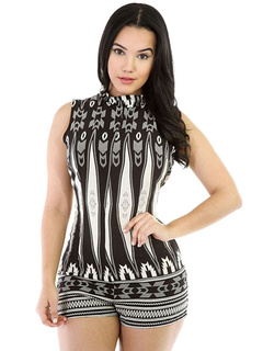 Stand Collar Printed Knotted Shaping Romper