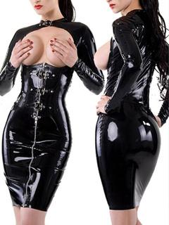 Sexy Black Bodycon Club Dress Front Cut Out Zipper