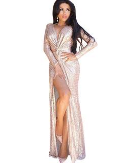 Solid Color Long Sleeve V-neck Split Sequins Club Dress