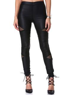 Black Mesh Insert Pu Trousers