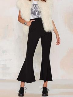 Women's Black Slim Pants High Waist Zipper Shaping Flare Pants