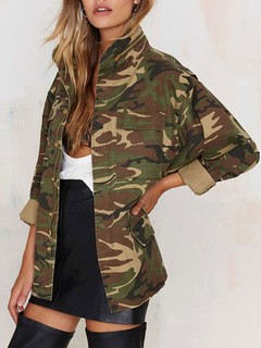 Women Military Jacket Camouflage Long Sleeve Oversized Jacket Zippered Green Coats