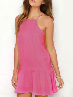 Straps Little Summer Dress With Puffy Hem