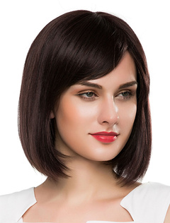 Women's Straight Wigs Medium Wigs Deep Brown Wigs With Side-swept Bangs