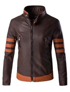 Overcoat Leather Men Stand Collar Jacket Zipper Stripe Brown Motorcycle Jacket