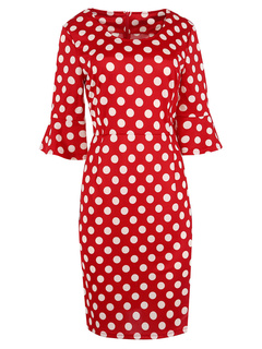 Bell Sleeves Polka Dot Midi Bodycon Dress