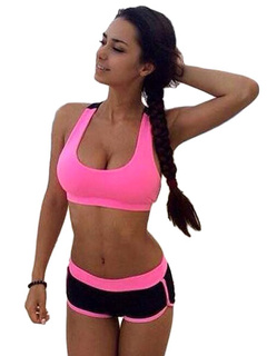 U-neck Crop Top And Shorts Sport Sets