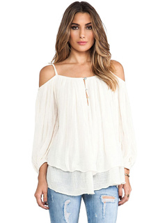 Tiered White T-shirt Open Shoulder Balloon Sleeve Casual Tops For Women